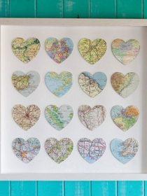 Carte routière découpée en forme de coeur
