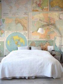Mur d'une chambre en cartes routières