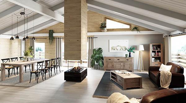 salon et salle à manger chalet moderne en bois