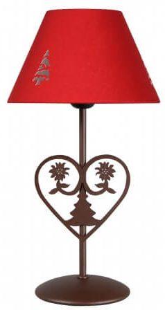 Lampe a poser montagne avec motifs sapin et coeur