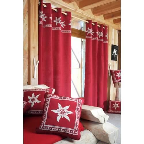 Rideau montagne rouge avec motif edelweiss