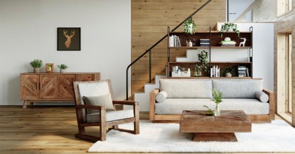 meubles de salon en bois esprit naturel et montagnard