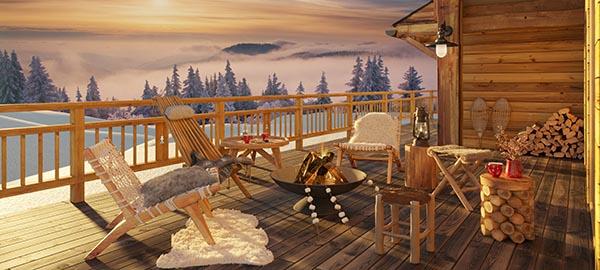 meuble de jardin extérieur terrasse chalet en hiver