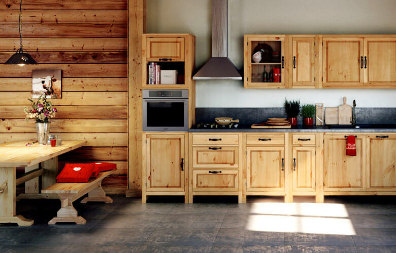 id es d co montagne une cuisine en bois esprit chalet. Black Bedroom Furniture Sets. Home Design Ideas