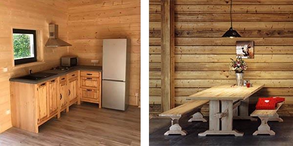 Meuble de cuisine et table en pin de type chalet