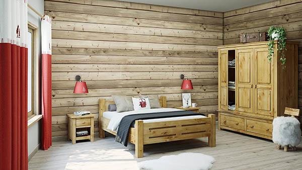 Chambre en pin de style montagnard