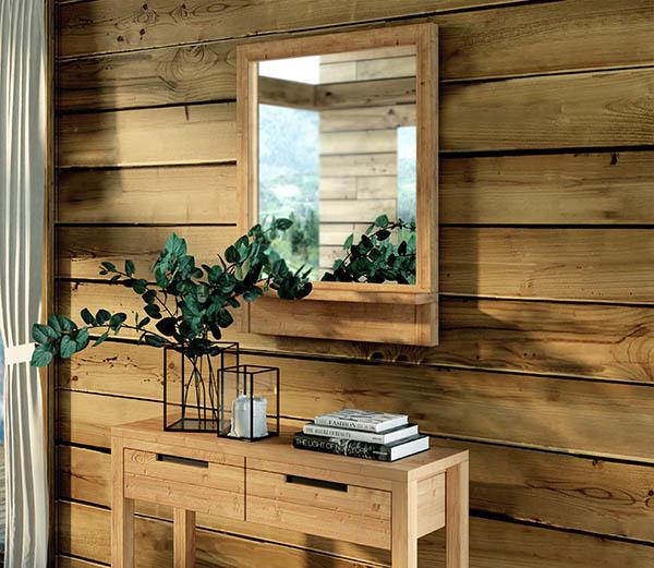 miroir bois massif dans chalet