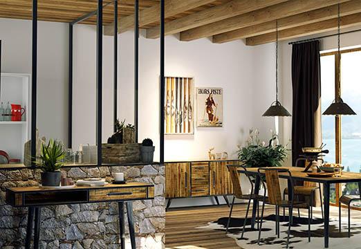 verrière intérieure chalet moderne et meuble mix and match indus