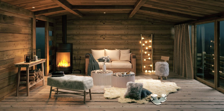 salon montagne meuble bois et mur en lambris
