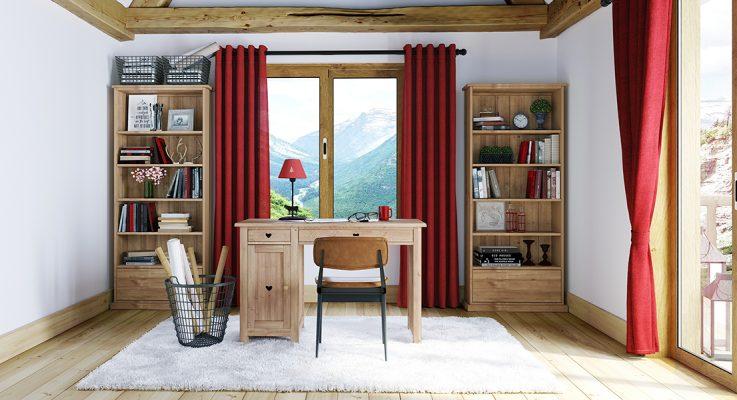 bureau style montagne avec mobilier en pin savoyard et sol marqueet