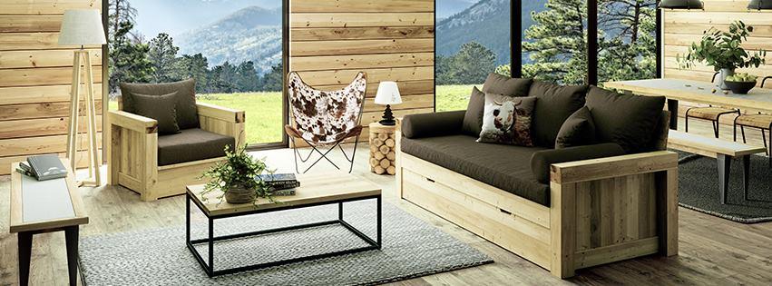 salon en bois naturel esprit montagne moderne