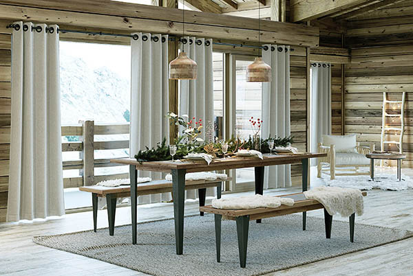 rideaux beiges style chalet moderne