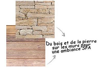 revêtement mural salle de bain pierre reconstituée et bois