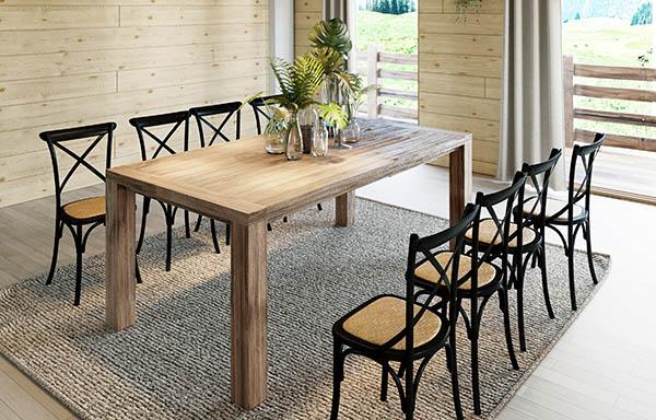Table en bois 8 places et chaises bistrots