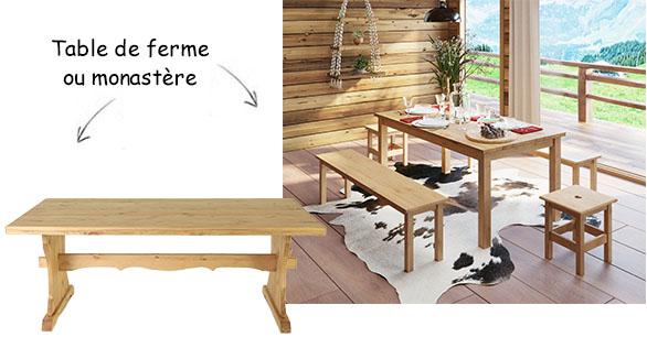 Table de ferme en bois et table monastère