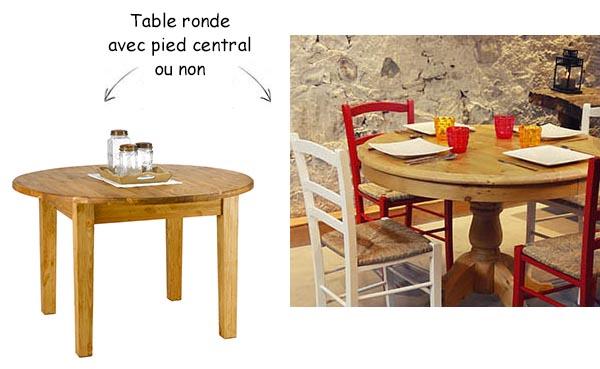 Table ronde en bois de style campagnard
