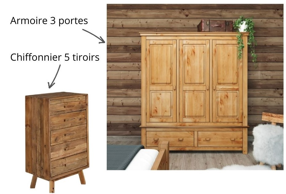 Chiffonnier et armoire en bois massif de style chalet