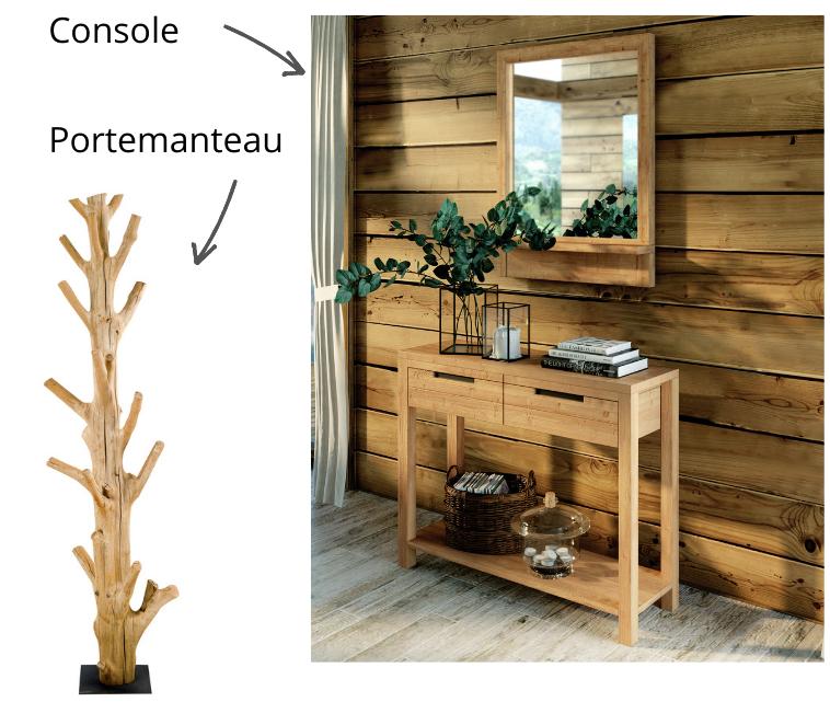 Console et portemanteau en bois massif pour un intérieur chalet