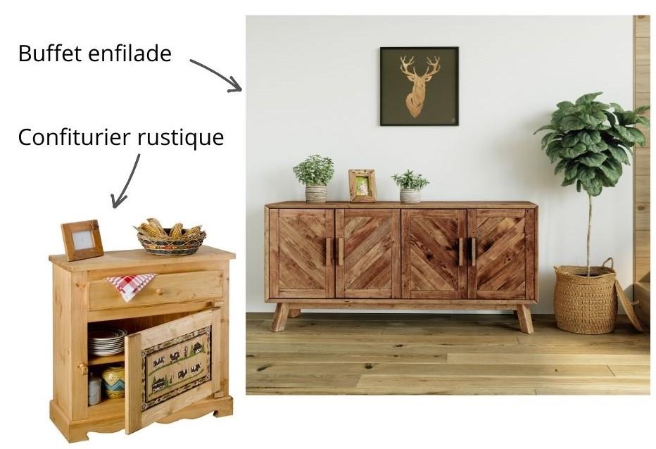 Buffet et confiturier bois massif de style chalet