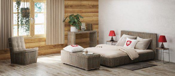 chambre à coucher en kubu de style chalet bohème